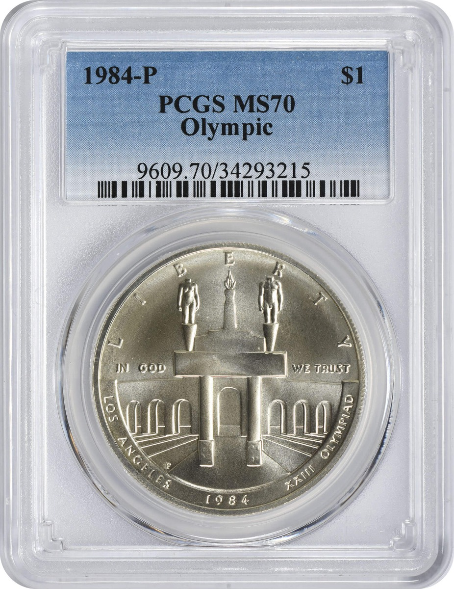 1984-P Olympic Commemorative Silver Dollar, MS70, PCGS