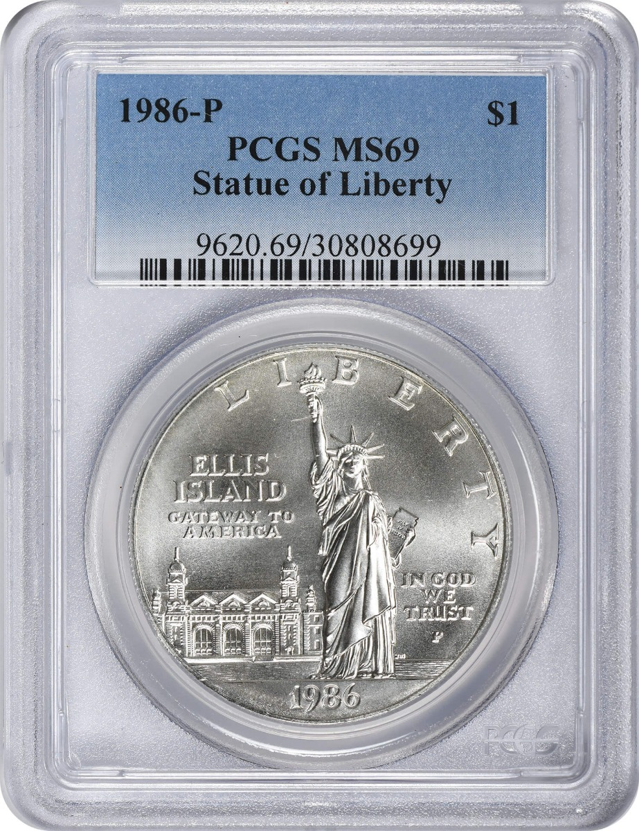 1986-P Statue of Liberty Commemorative Silver Dollar MS69 PCGS