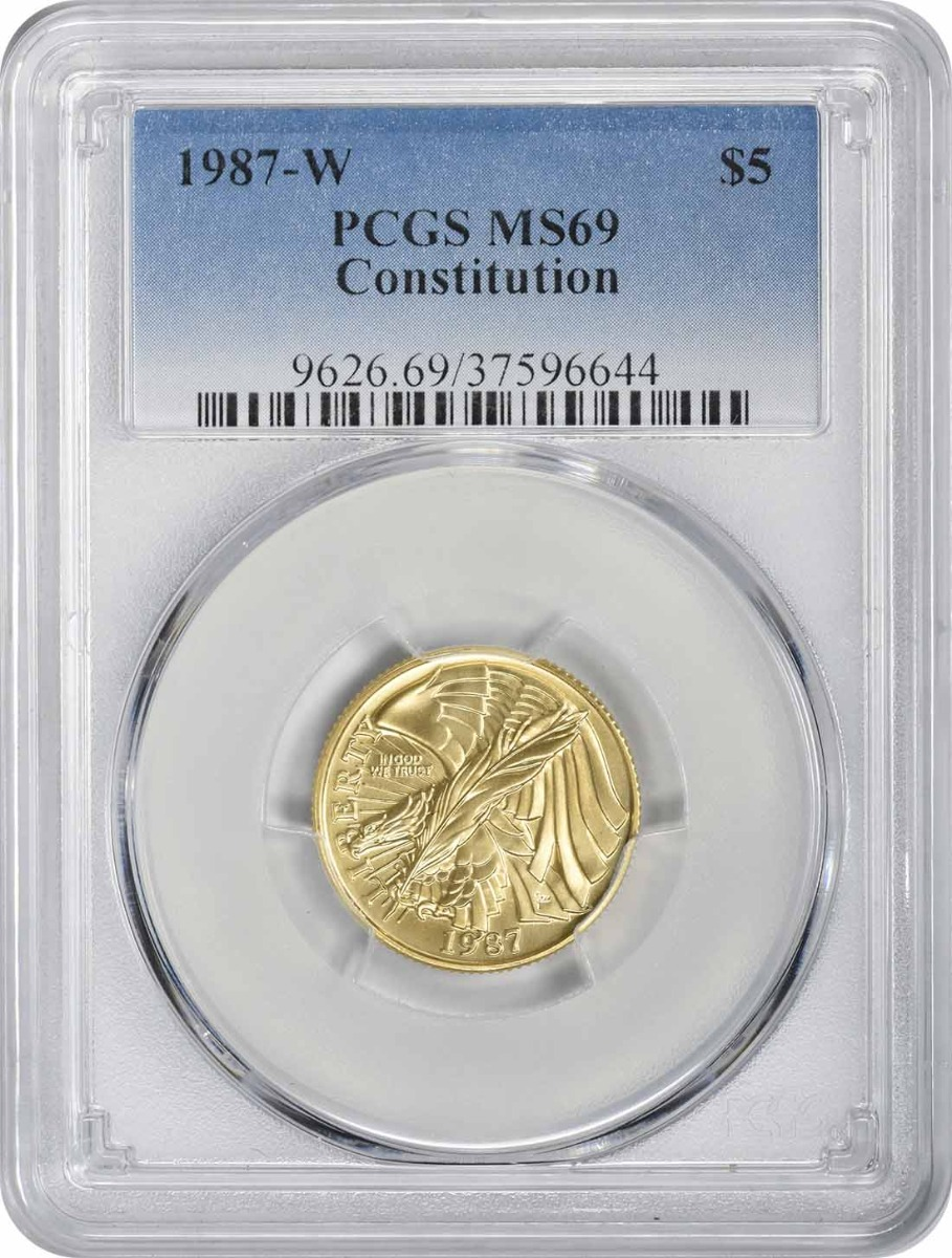 1987-W Constitution Commemorative $5 Gold MS69 PCGS