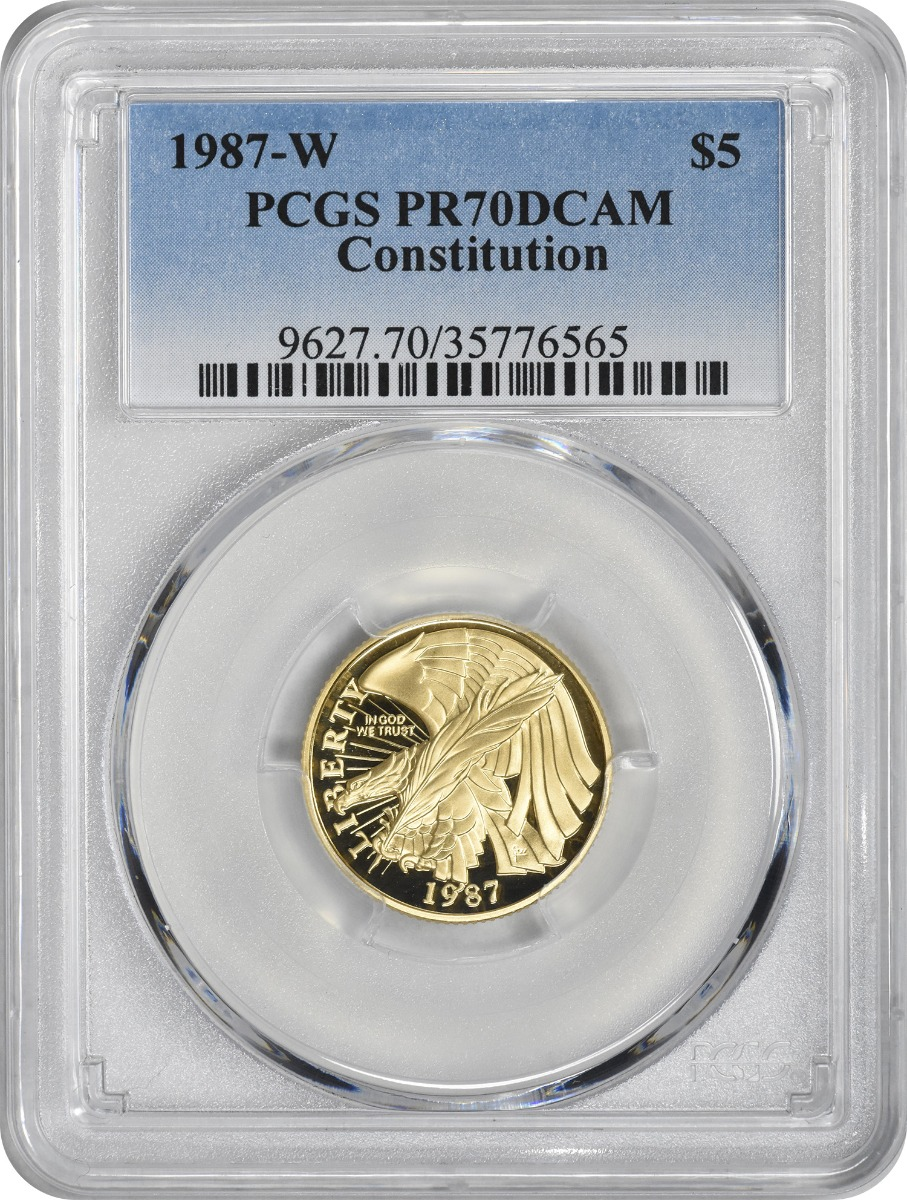 1987-W Constitution Commemorative $5 Gold PR70DCAM PCGS