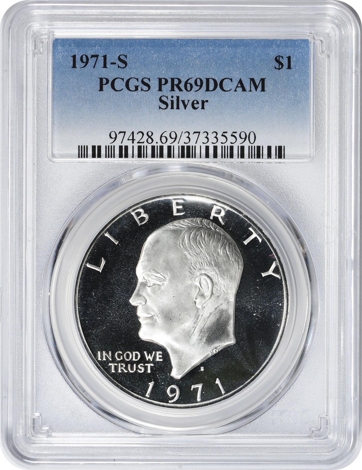 1971-S Eisenhower Dollar, PR69DCAM, Silver, PCGS