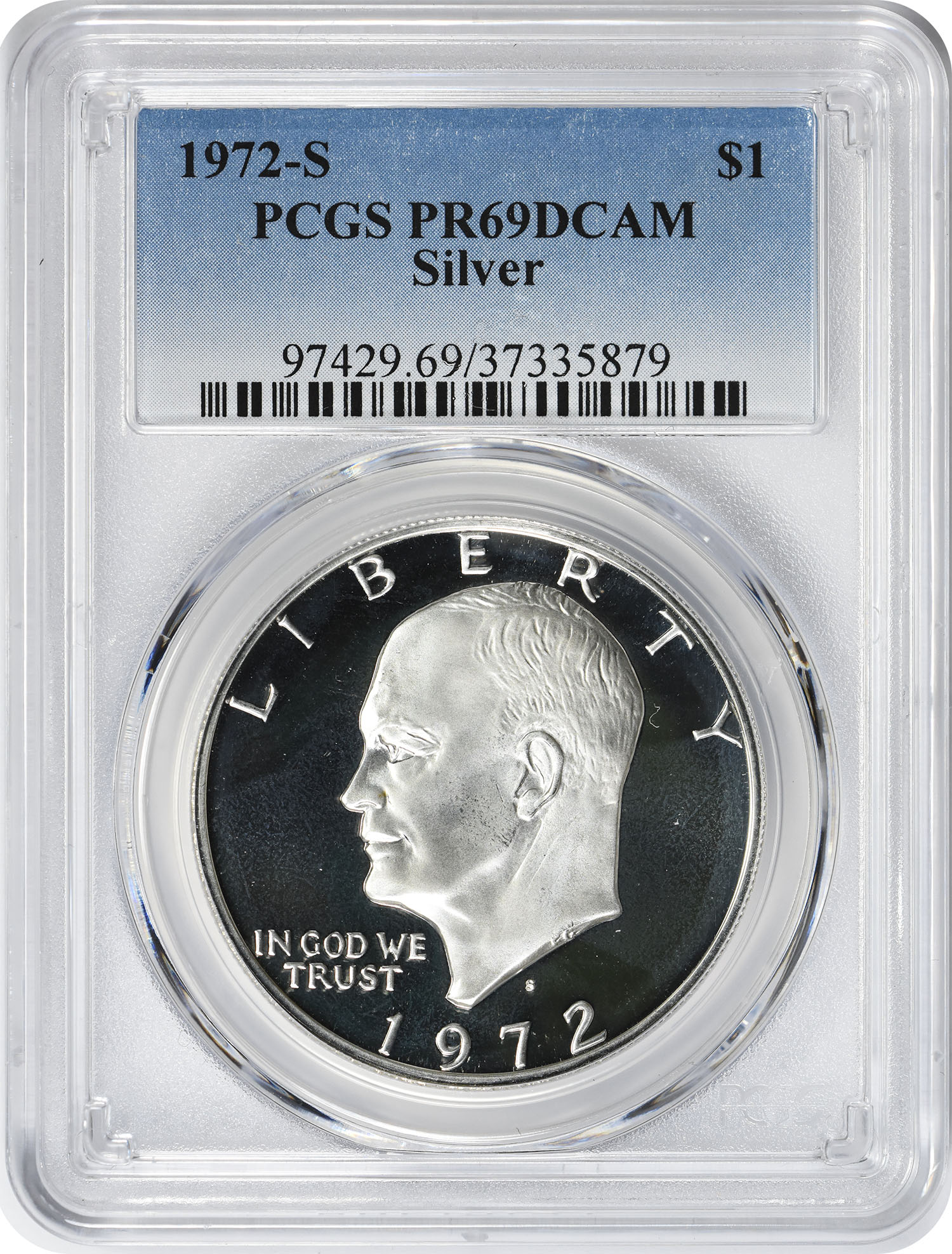 1972-S Eisenhower Dollar, PR69DCAM, Silver, PCGS