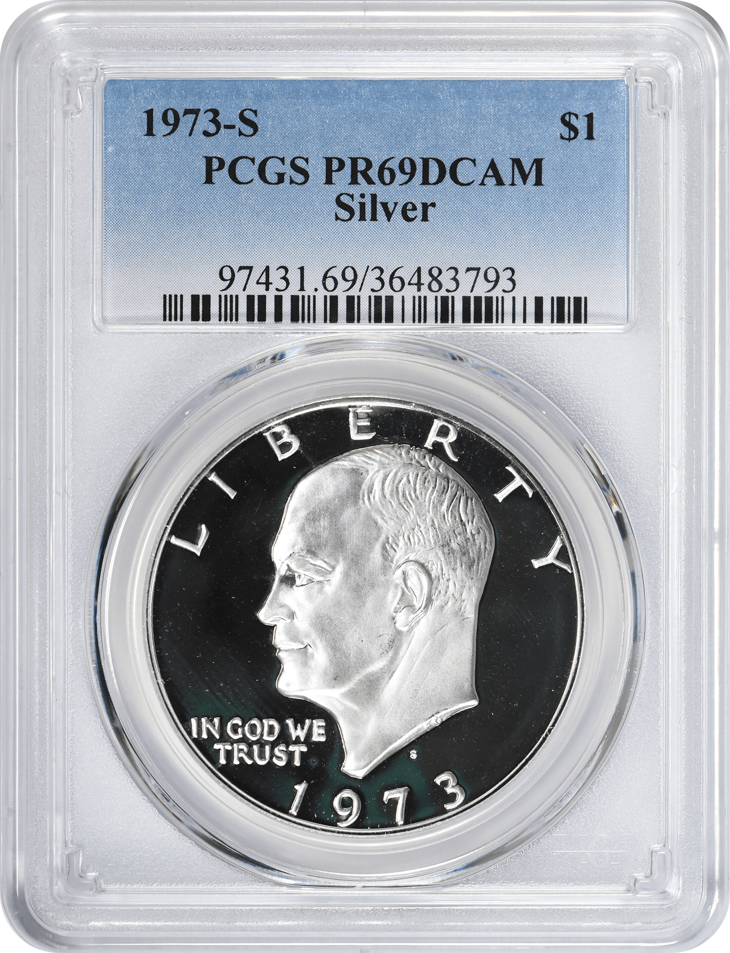 1973-S Eisenhower Dollar, PR69DCAM, Silver, PCGS
