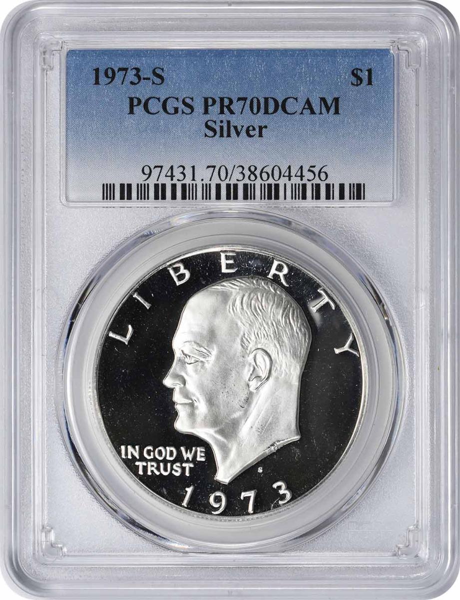 1973-S Eisenhower Dollar, PR70DCAM, Silver, PCGS