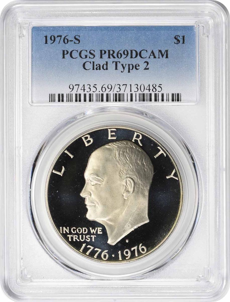 1976-S Eisenhower Clad Dollar Type 2 PR69DCAM PCGS
