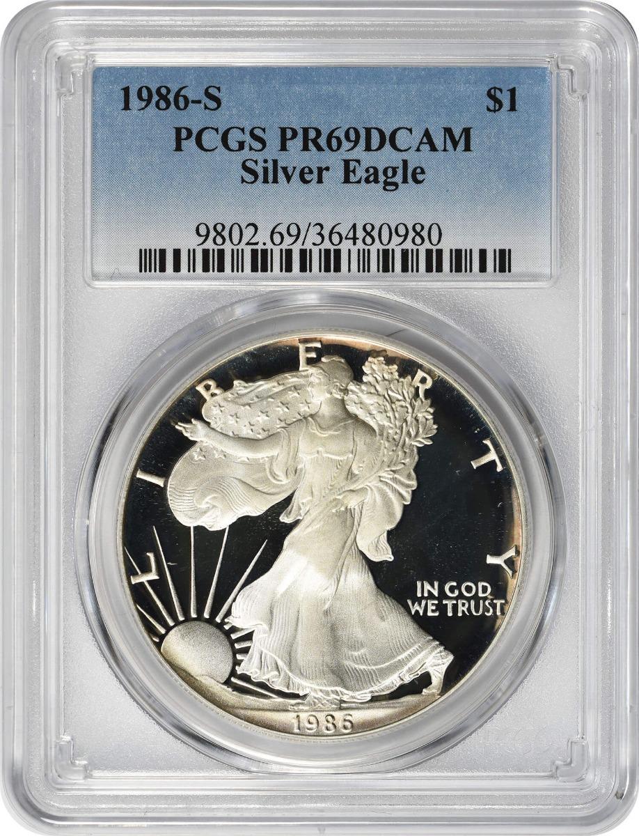1986-S $1 American Silver Eagle PR69DCAM PCGS