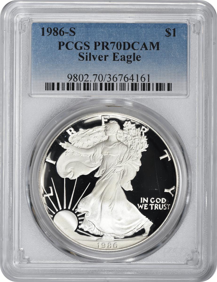 1986-S $1 American Silver Eagle PR70DCAM PCGS