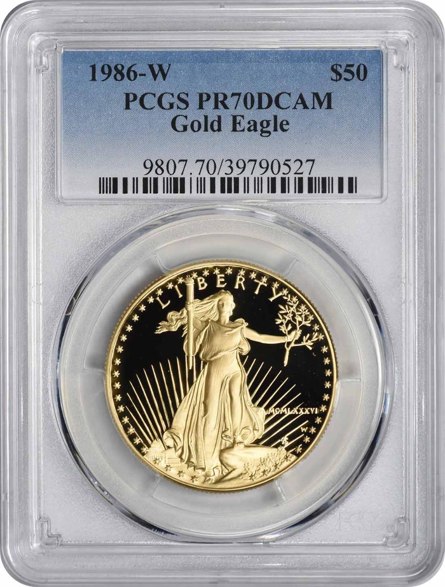 1986-W $50 American Gold Eagle PR70DCAM PCGS