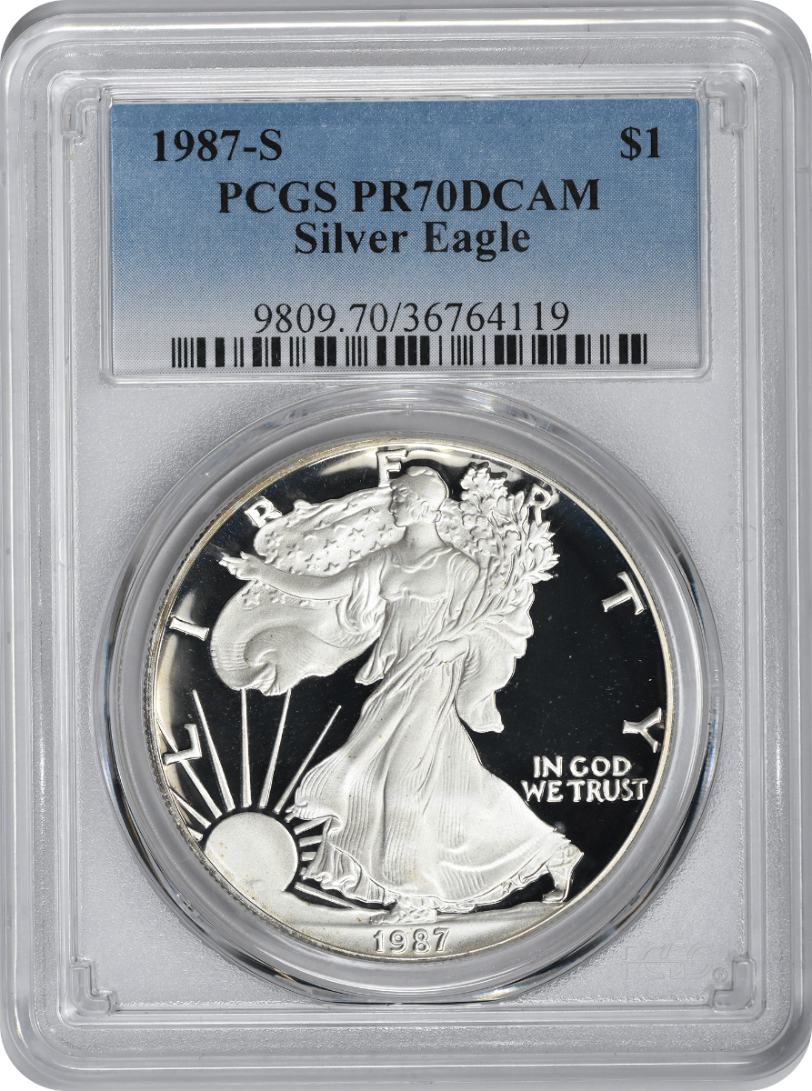 1987-S $1 American Silver Eagle PR70DCAM PCGS