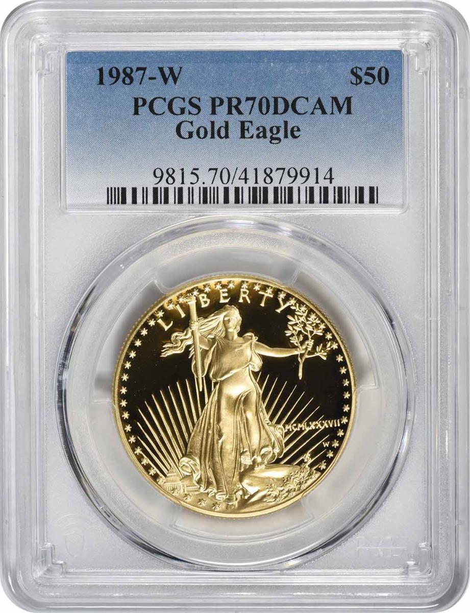 1987-W $50 American Gold Eagle PR70DCAM PCGS