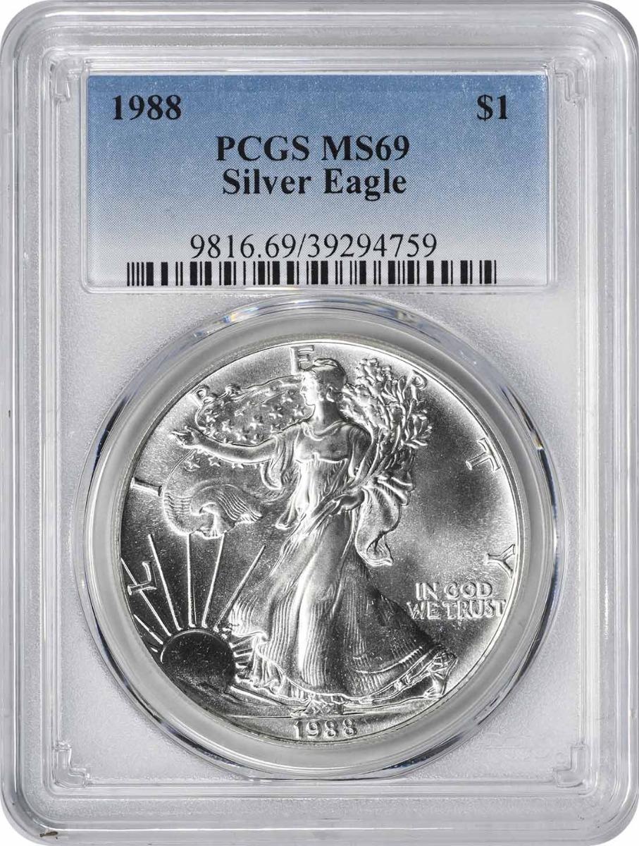 1988 $1 American Silver Eagle MS69 PCGS