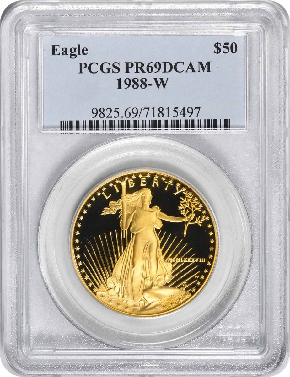 1988-W $50 American Gold Eagle PR69DCAM PCGS