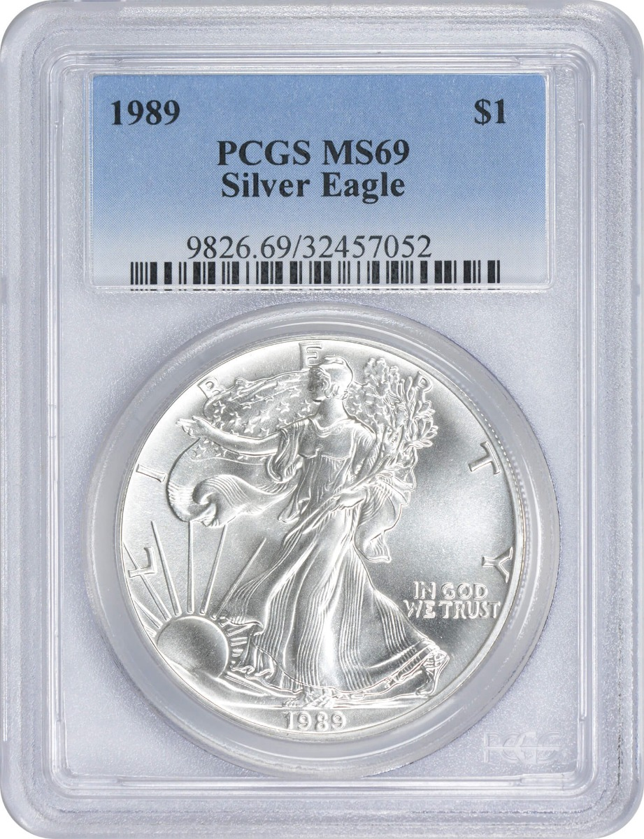 1989 $1 American Silver Eagle, MS69, PCGS