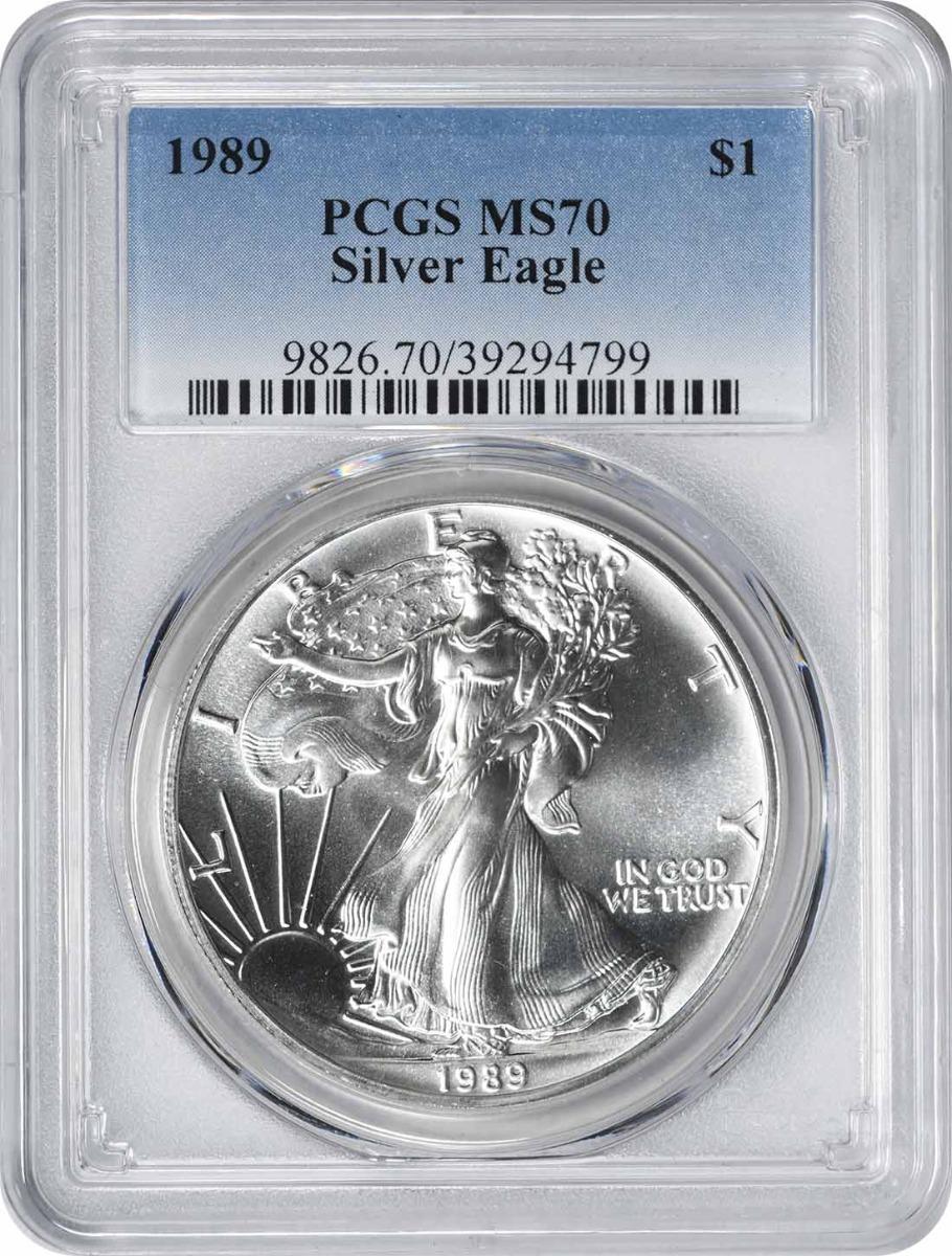 1989 $1 American Silver Eagle MS70 PCGS