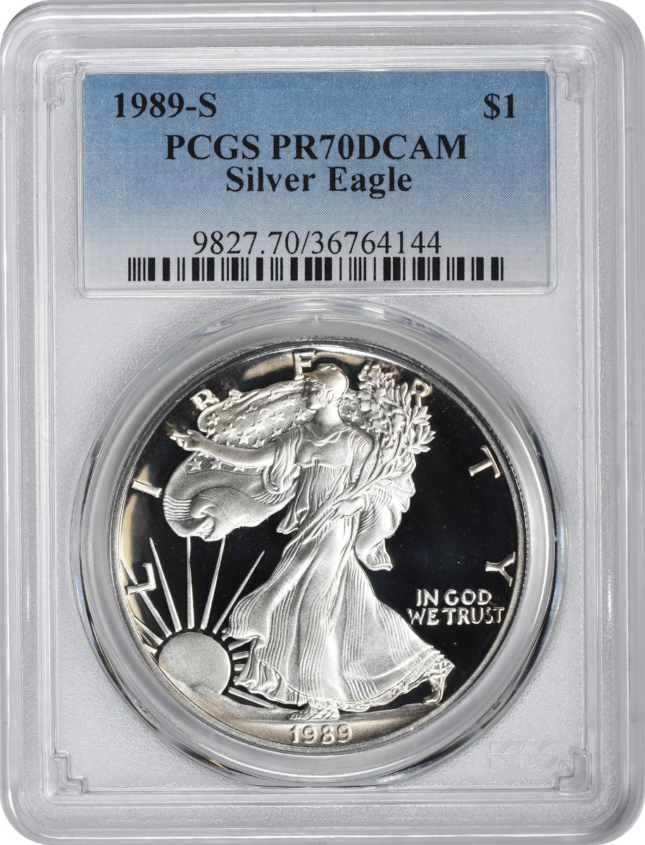 1989-S $1 American Silver Eagle PR70DCAM PCGS