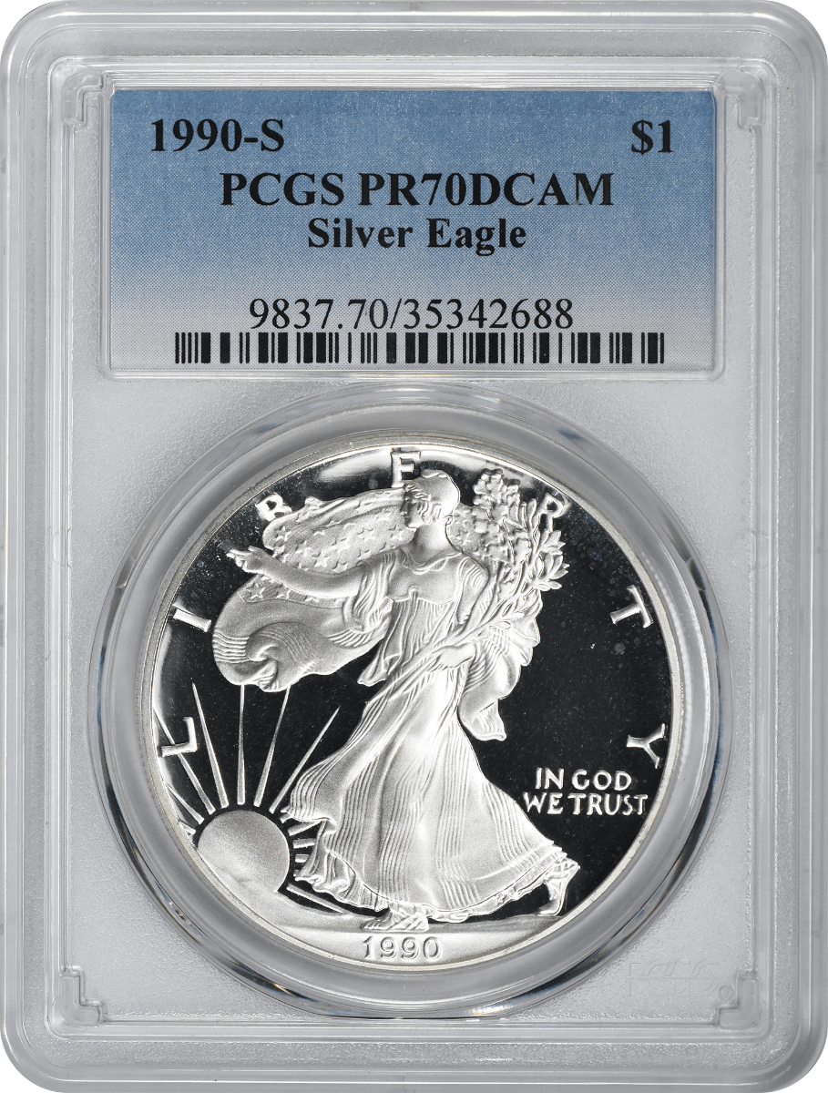 1990-S $1 American Silver Eagle PR70DCAM PCGS