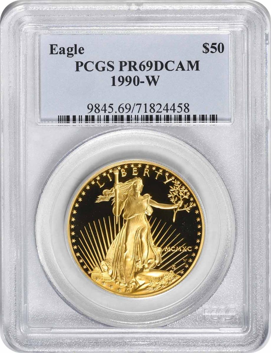 1990-W $50 American Gold Eagle PR69DCAM PCGS