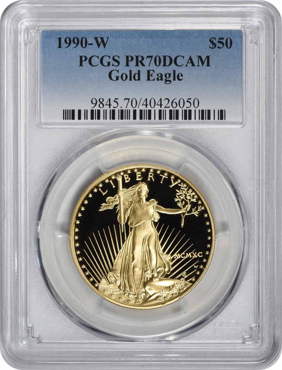 1990-W $50 American Gold Eagle PR70DCAM PCGS