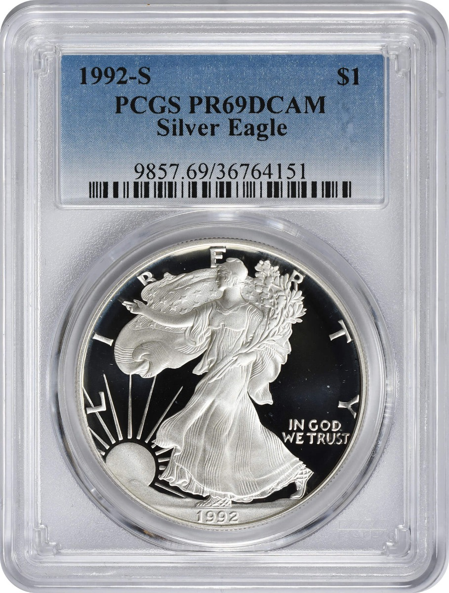 1992-S $1 American Silver Eagle PR69DCAM PCGS