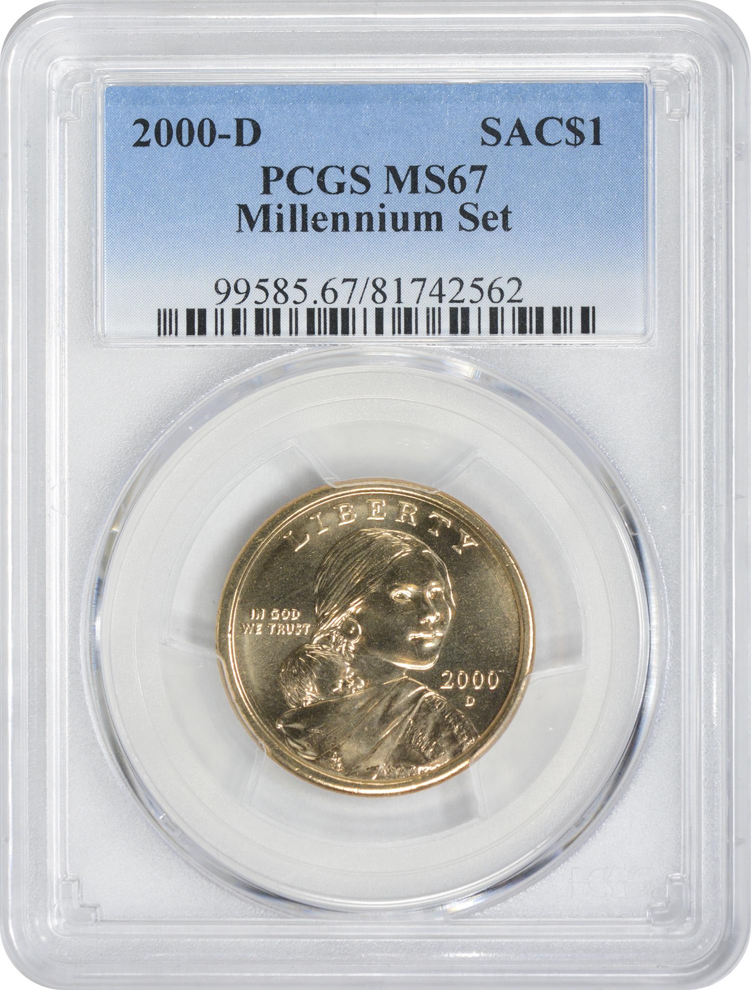 2000-D Sacagawea Dollar, Millennium Set, MS67, PCGS