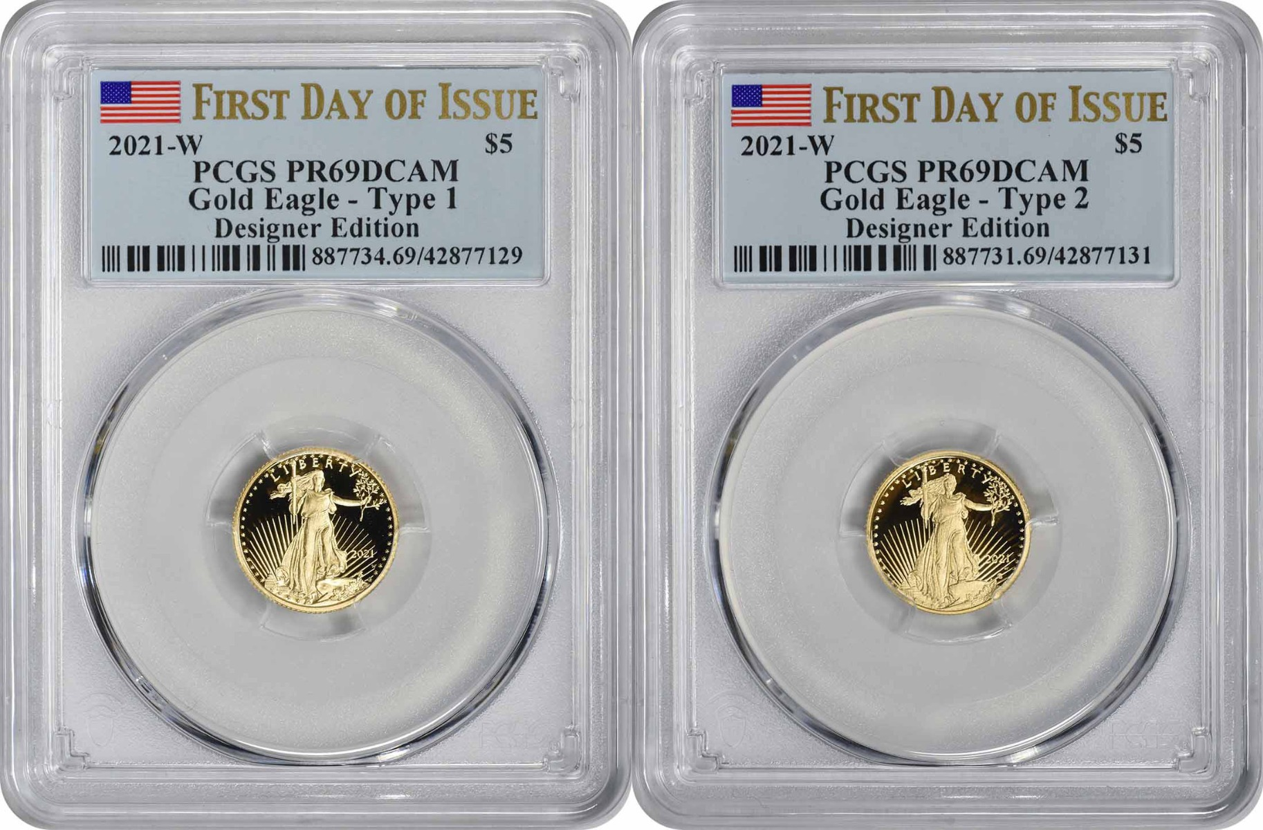2021-W $5 American Gold Eagle Designer Edition 2-Coin Set PR69DCAM First Day of Issue PCGS