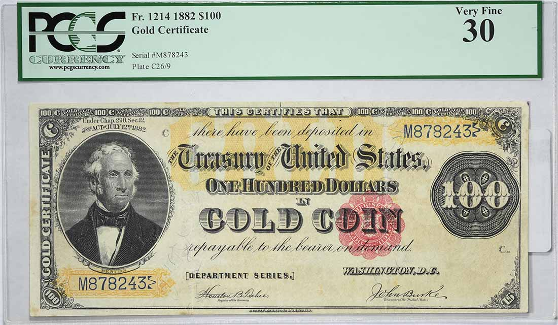 1882 $100 Large Gold Certificate FR1214 VF30 PCGS