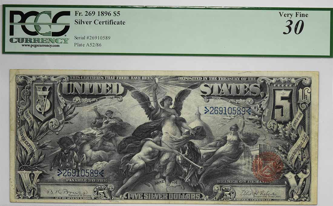 1896 $5 Large Silver Certificate FR269 VF30 PCGS
